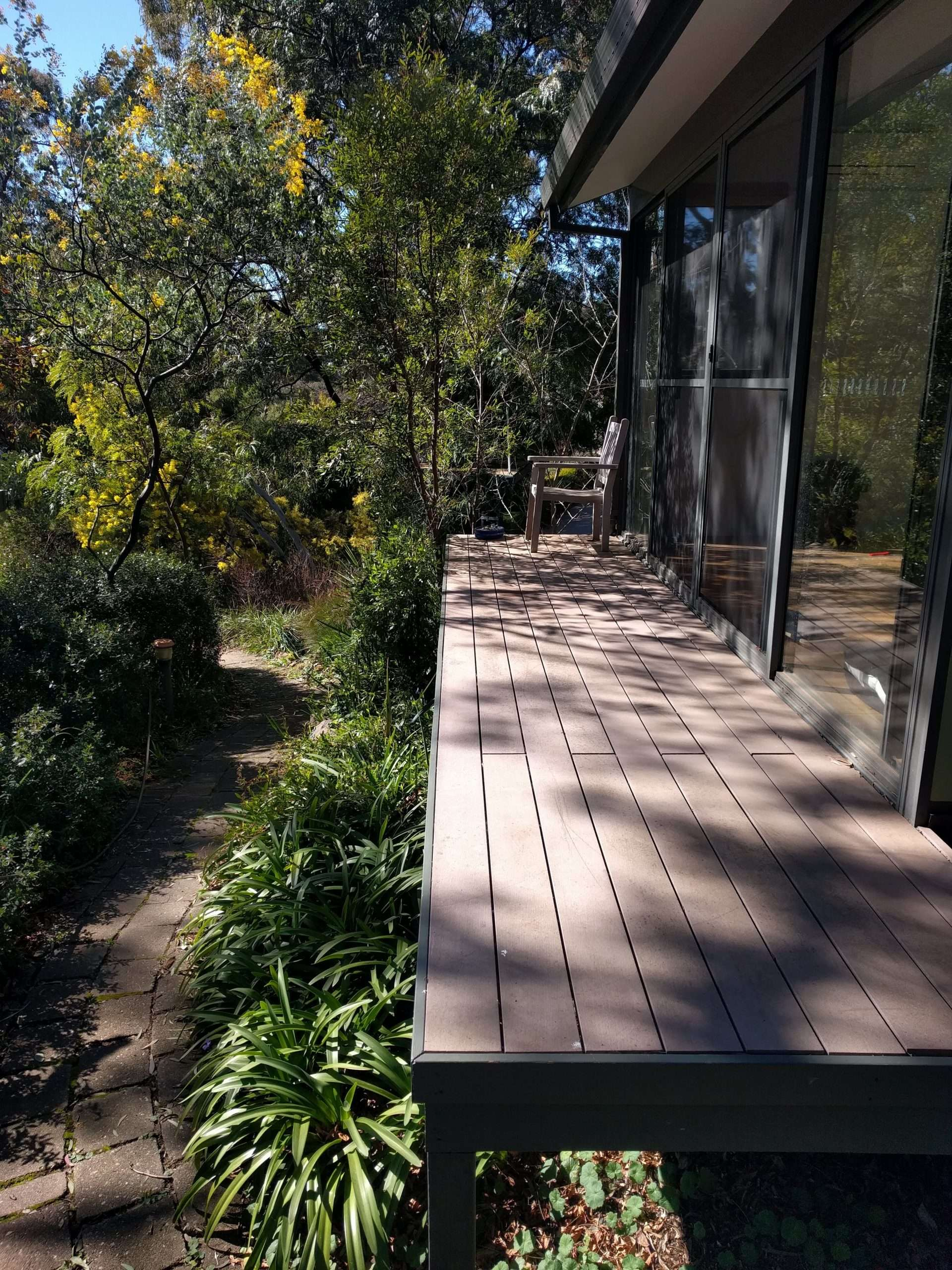 The front of the zendo. On the left of the image is the winding path up from the street, in the middle is the zendo deck and on the right you can see the front of the zendo which is all glass. The sun is shining and the garden is lush and green.
