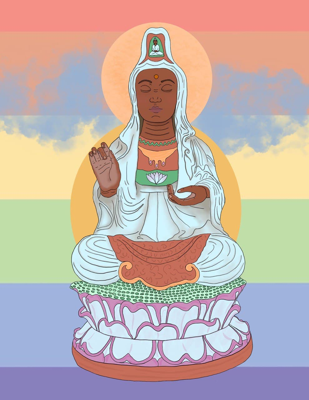 An image of a dark skinned Guan-Yin the Bodhisattva of compassion against a pastel LGBTQIA* flag background